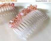 15% OFF Peach Taffy Iridescent Czech Bead-wrapped Side Comb 70mm CO300