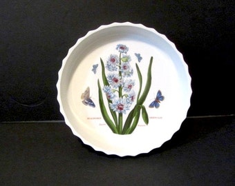 Vintage Portmeirion Quiche, Botanic Garden dish, English quiche dish, Eastern Hyacinth, English country, flower and butterflies
