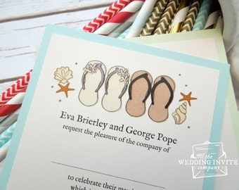 Flip Flops and Starfish Postcard Wedding/Evening Invitations