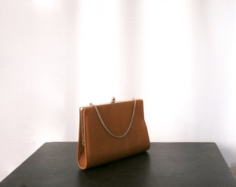 Simple and Elegant Bronze Fabric Bag,  Evening Convertible Clutch