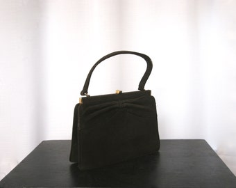 1940's Brown Faux Suede Handbag, Petite Pocketbook