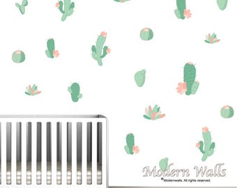 Cactus Wall Decals, Wall Stickers,Nursery Wall Decals-Cacti Decals, Nursery Wall Decals-Nursery Decor,Kids Room Wall Decor