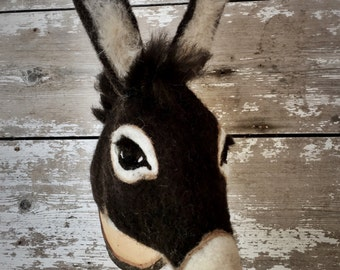 needlefelted miniature  donkey head style faux taxidermy by feltfactory