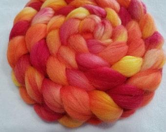 Polwarth/Silk Roving - 85/15 - 4 oz - Sun Yellow, Cantaloupe Orange and Red Orange