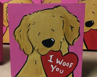 Golden Retriever hand painted wooden plaque PERSONALIZED