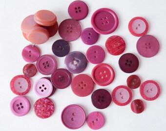 Lot Assorted Pink Purple Burgundy Buttons Lot - Destash - Crafts -  1930s -80s - B4B