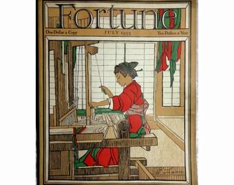 Fortune Magazine, July 1933, Japan, Washington D.C., Radios, Art Deco Cover by Bertha Lum, Antique Ephemera, FREE Shipping