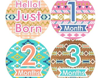 Baby Month Stickers, Monthly Baby Sticker, Baby Girl First Year Sticker, Baby Milestone, Peach Teal Gold Glitter Pink Boho Tribal Aztec 178G