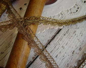 Gorgeous old ANTIQUE metallic gold braid trim with scalloped edge, one yard with more available