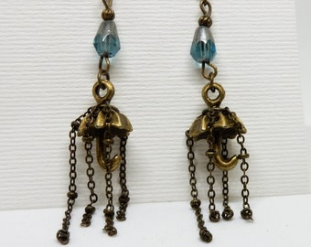 Tassel Earrings, Tassel Jewelry, Umbrella Earrings, Rainy Day Earrings, Umbrella Jewelry, Rain Jewelry,  Whimsy Earrings