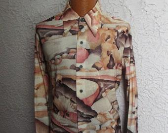 70's Vintage Men's Silky Disco Shirt Deadstock Kennington large