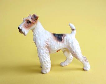 Lefton Fox Terrier Figurine Vintage Wire Haired Fox Terrier Ceramic Dog Figurine