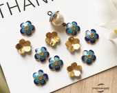 10pcs Small Blue Sakura Flower Bead Caps-Blue Glaze Coating