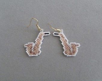 Beaded Saxophone Earrings