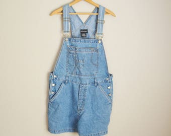 vintage medium wash denim jean shortalls overall shorts -- womens xlarge