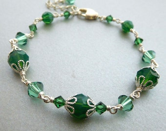 Green crystal bead bracelet, all Austrian crystal, bright Silver-plated, emerald opal colors, lacy bead caps, St Patrick's Day bead jewelry