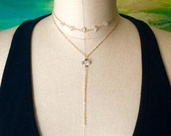 Herkimer Diamond Necklace/ Raw Stone Crystal Y Necklace/ Choker Necklace/ Gold Necklace/ Gift for Her/ Designer Jewelry