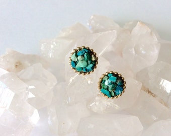 Chrysocolla Stud Earrings  - Raw Gemstones - Handmade Designer Earrings
