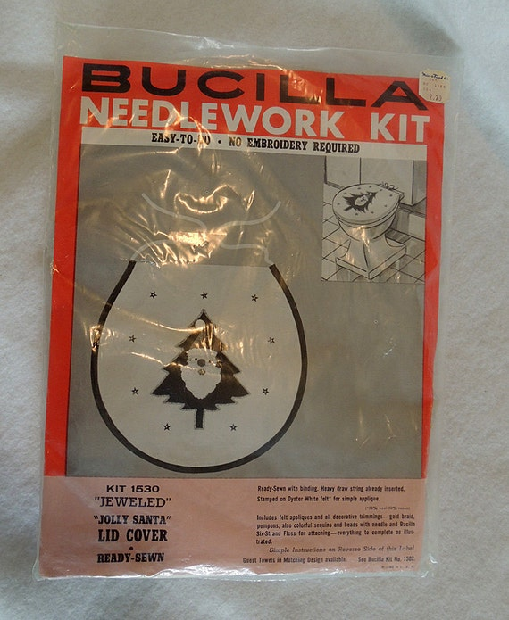 Vintage Christmas Kitsch Bucilla Needlework Kit.. Jeweled Jolly Santa Lid Cover 1530