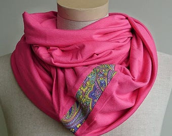 Huge infinity scarf, shrug, shawl, cowl, capelet and hood in one piece, pink - READY to ship