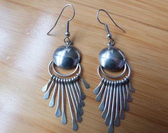 Sterling Silver Dangle Navajo Earrings Native American Navajo Paula Armstrong