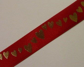 Red with Gold Running Hearts Ribbon 3 Yards