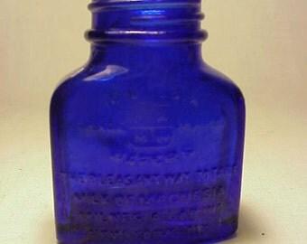 c1930s Milnesia Wafers Milnesia Lab. Inc. New York, N.Y. ,Cobalt Blue Medicine Bottle
