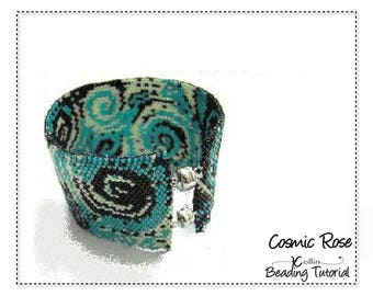 Peyote Stitch Beading Pattern Even Count Wide Cuff Charted Design Beading Instructions Flat Peyote Cuff Beaded Jewelry Tutorial COSMIC ROSE