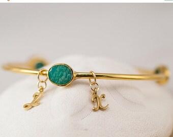 40 OFF - Personalized Charm Bangle - Amazonite Bracelet - Gemstone Bangles - Friendship Bracelet - Initial Charm Bracelets