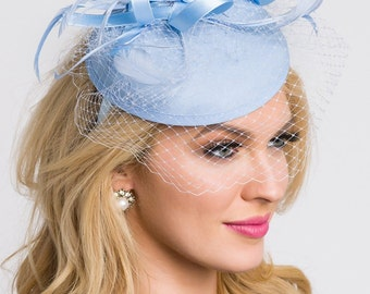 """Light Blue Fascinator - """"Juliet"""" Light Blue Round Felt Sinamay Hat w/ Feathers and Satin Ribbons"""