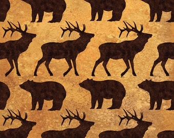 Elk Mountain Elk and Bear premium cotton fabric from Clothworks - deer, wildlife, fish, trees, bear