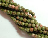 ON SALE Unakite  (natural) Stone Bead, 6mm round, you pick 8 beads, 16 beads, half strand, or full 16 inch strand