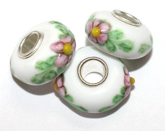New! Murano Glass Lampwork Silver Plated Beads to fit European Style Charm Bracelet green white pink flowers  ES-136-Sp
