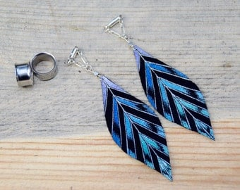 """Hand Painted Blue and Teal Leather Feather Gauged Earrings by BellaDrops 2g, 0g, 00g, 7/16"""", 1/2"""", 9/16"""". 5/8"""" 3/4"""", 7/8"""" 1"""""""