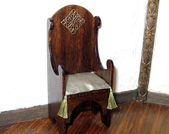 Medieval Chair, Sage Silk Cushion, Gothic Dollhouse Miniature 1/12 Scale, Hand Made