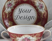 ANY DESIGN - Red and Gold  Customized Vintage Soup Cup, Two Handled, Personalized China, Monogram Wedding Cup, Bespoke Cup, Skull China