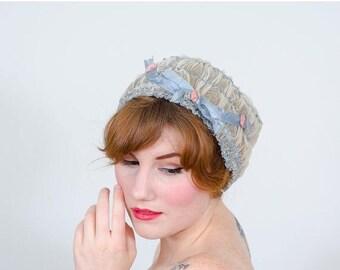 25% OFF SALE / 1920s vintage hat / boudoir cap / Rosette