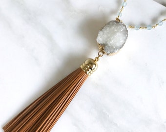 Long Tassel Necklace in Earth Tones. Gift for Her. Leather Tassel.  Long Gold Geode Druzy Tassel Necklace. Gold Tassel Statement Necklace.