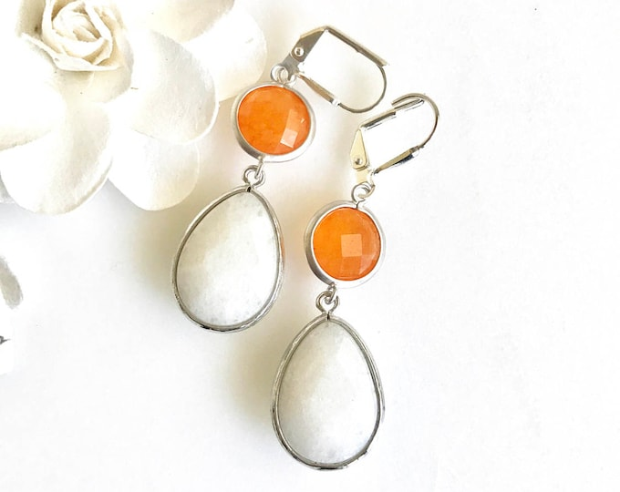 White Teardrop and Orange Stone Dangle Earrings in Silver. Statement Fashion Earrings. Drop Earrings. Orange White Earrings.