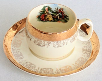 Crest O Gold 22K Gold Sabin Cup & Saucer Victorian Colonial Couple Intricate Lacy Pattern Hard To Find VERY NICE CONDITION