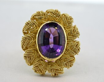 18k Yellow Gold 3ct Oval Amethyst Bezel Set Ring - Size 5.5