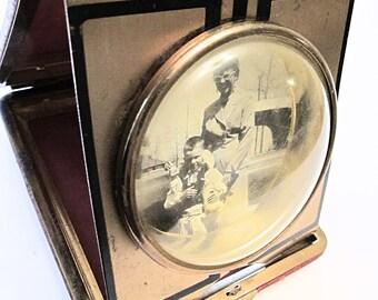 Red Art Deco Travel Clock Case Repurposed into Photo Frame