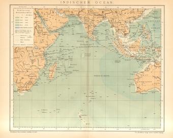 1895 Original Antique Map of the Indian Ocean