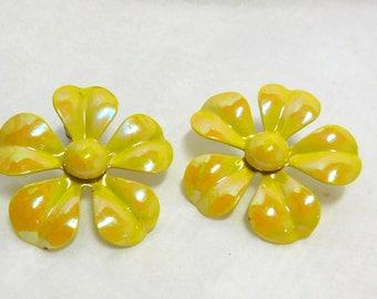 Sunny Yellow Flower Earrings Vintage 60's Pierced Enamel Hippie Flower Child Retro Modern Fun Spring Summer Garden Party