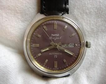 Vintage 1970s Mens HMT Day Date Automatic Calendar Watch