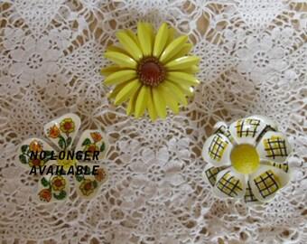 Vintage Brooches - Spring Brooch, Floral Brooch, Choice of 2, Easter Brooch, Enamel Brooch, Yellow Daisy, Handpainted Brooch