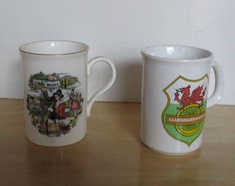 Vintage Mugs - Souvenir Mugs, Wales Mug, Llangollen Railway, Bone China, Made in England, Father's Day, Mother's Day