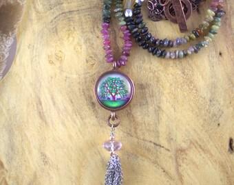 Long Gemstone Necklace| Oak Tree Pendant|oak tree jewelry gift|Oak Tree Necklace for her|copper jewelry tourmaline gemstone necklace
