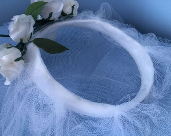 Vintage 1950s White Wedding Halo Hat with Tulle Veil, White Roses