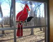 LT Stained glass Cardinal red bird sun catcher light catcher with mixed brown branch, green clear glass leaf